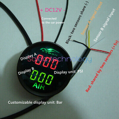 AIR Pneumatic Suspension Pressure Gauge Two-color Duo Connected to the car power