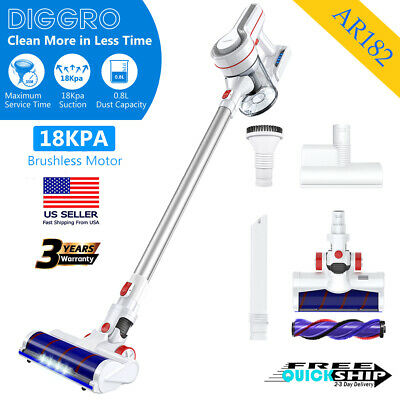 Suitable for Carpet Hardwood Floor Pet Hair DIGGRO AR182 Cordless Stick Vacuum Cleaner,18000Pa Powerful Suction Lightweight Rechargeable Handheld Vacuum with Brushless motor