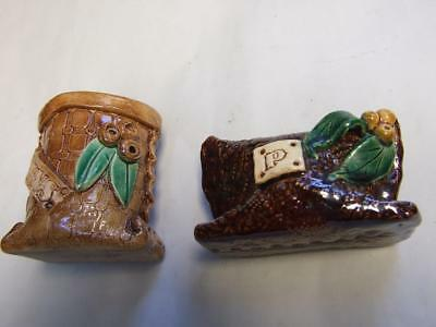 Vintage  Pair Australian Pottery with Gum Nuts & Leaves Marked Bargain