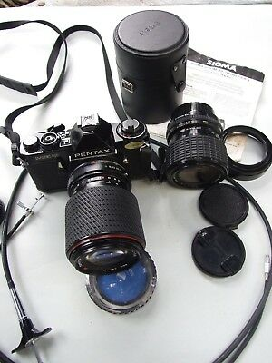 PENTAX MUE. SUPER 35MM CAMERA JAPAN TOKINA & SIGMA ZOOM LENS - Case Vintage
