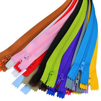 100pcs Nylon Coil Colorful Zips Closed End Zipper for Sewing & Crafts -20 Colors