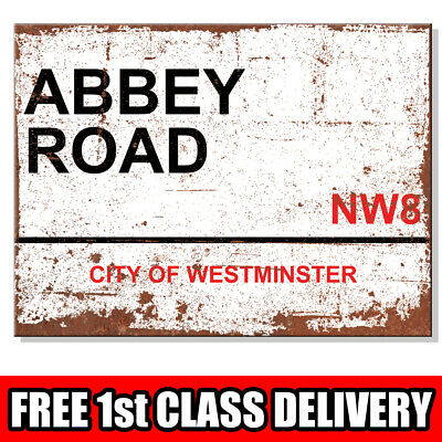 Metal Signs - ABBEY ROAD NW8 London Street Sign House Wall Plaque Rusted Look UK