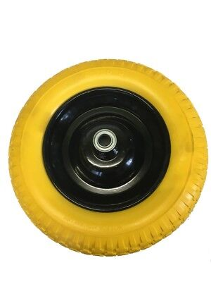 "Replacement 14"" PU Foam Filled Solid Wheelbarrow Puncture Proof Yellow Tyre 3.50"