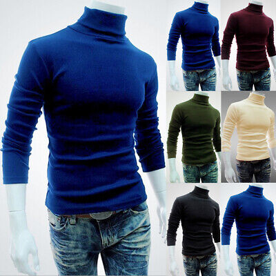 Hot Mens Thermal High Collar Turtle Neck Long Sleeve Sweater Stretch T-Shirt