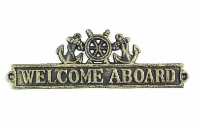 """Iron Ship Wheel and Anchors 12"""" Nautical Home Decor Welcome Aboard Sign, 9"""""""