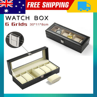 Watch Box 6 Grids Carbon Fiber Storage Gift Case Jewelry Display Organizer NSW
