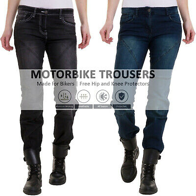 Womens Motorbike Motorcycle Jeans Denim Pants Aramid Protective Lining Trousers