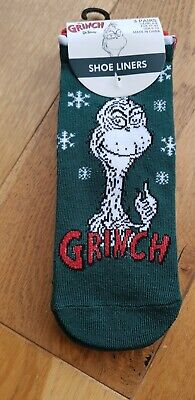 LADIES THE GRINCH WOULDN/'T BE XMAS. SHOE LINERS SOCKS UK 4-8 EUR 37-42 USA 6-10