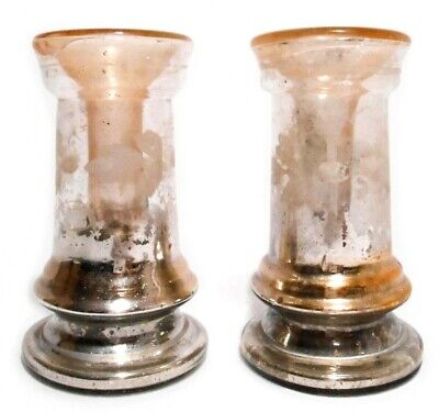 Rare Mid-19Th C Antique Pair Silverglass Double Walled, Hand Blown Candlesticks