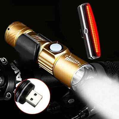 USB Rechargeable Front Rear Bicycle Bike Safety LED Light Set Backlight Flashing