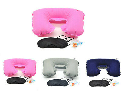 3 IN 1 Portable Pillow &  Hot Travel Eye Mask Cover Air Cushion Suit & Earplugs
