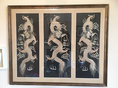 Vintage 1930s Silk Embroided Japanese Dragons In A Frame