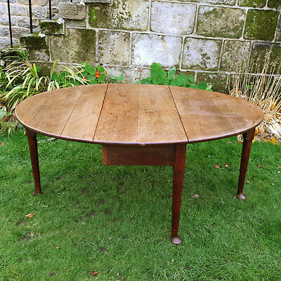 George II Oak Pad Foot Drop Leaf Oval Dining Table C1750 (Georgian)