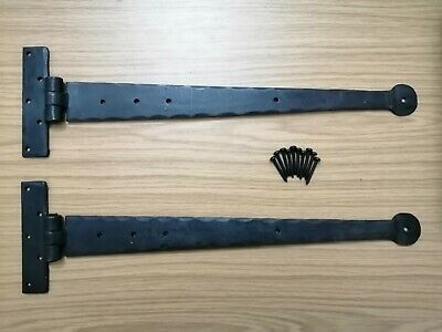 18 inch Penny Hand Forged Iron Tee Hinge Pair Strap T Hinge BEESWAX UK