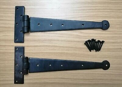 12 inch Penny Hand Forged Iron Tee Hinge Pair Strap T Hinge BEESWAX UK