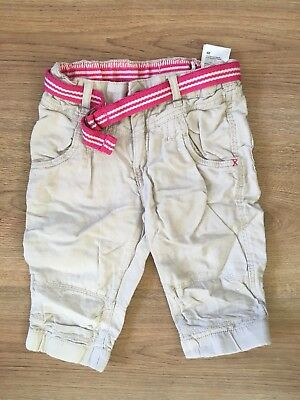 H&M Linen Trousers 2-3 Years Cream And Pink Pull Ins And Pockets Girls