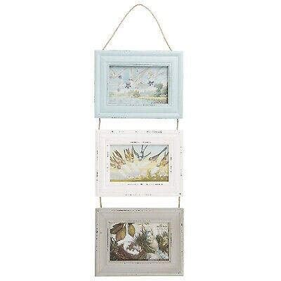 Delilah Distressed Hanging Triple Picture Photo Frames Rustic Pastel Boho
