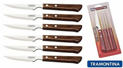 Tramontina Churrasco Set of 6 Premium Steak Knives Wooden Handle, Red or Brown