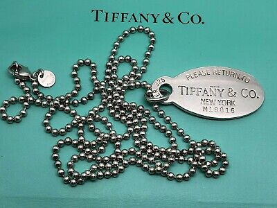 TIFFANY & Co. STERLING SILVER. 925. OVAL DOG TAG PENDANT, BALL CHAIN