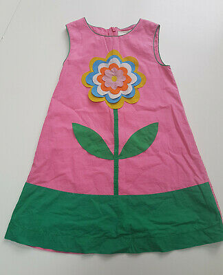 Beautiful Mini Boden Pink Flower Applique Dress Age 4-5 Yrs VGC