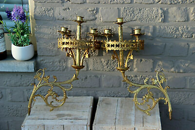 PAIR antique neo gothic dragon Church religious Wall candle holders brass n2