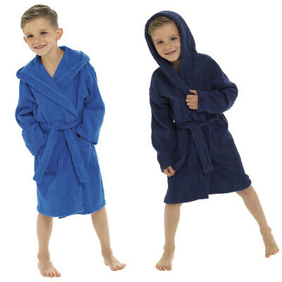 Boys Super Soft Cotton Towelling Hooded Bath Robe/Dressing Gown Ages 7-13