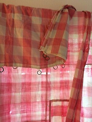 Antique French 19th century Vichy check single curtain