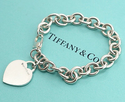 TIFFANY&Co Heart Tag Charm Bracelet Sterling Silver 925 Bangle c770