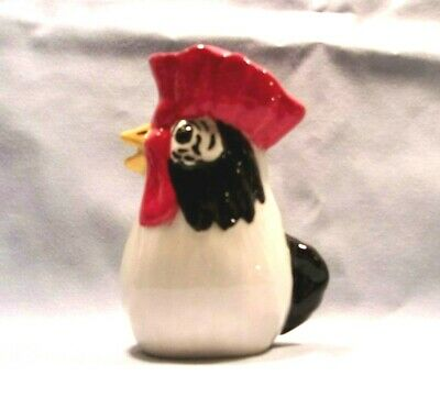 Rooster I*346-76.879- Ceramic Rooster WHITE w/ Red & Black Pie Bird