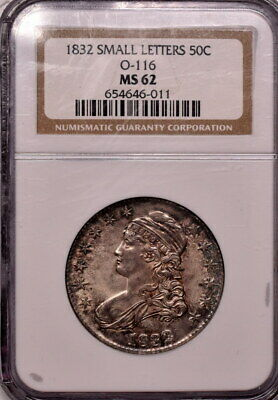 1832 50c Bust Half Dollar Small Letters O-116 NGC MS 62