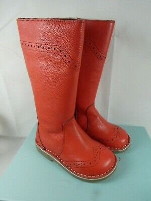Mini Boden Girls knee high brogue red leather Boots Size 24 UK 7, unused.