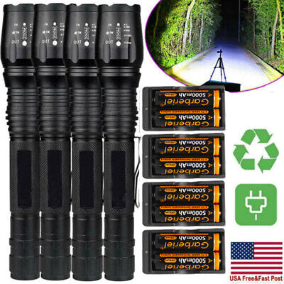 Lot Tactical Police 990000 Lumens 5 Modes T6 LED 18650 Flashlight Zoomable Torch
