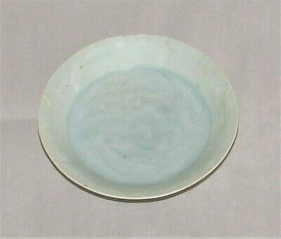 """Chinese Sung Porcelain Dish Celadon Small Floral c.960 - 1279  / 4"""" d  x 1"""" h"""