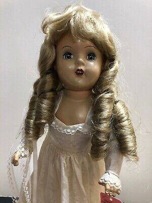"""15"""" Vintage X Marked Compo Doll Redressed Alex Bride Replaced Wig & Shoes #S"""