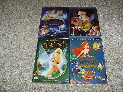 Disney DVD lot : Cinderella, Snow White, Tinkerbell & The Little Mermaid