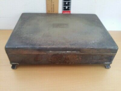 Vintage Silver Plated Covered Wooden Cigarette/Cigar Box