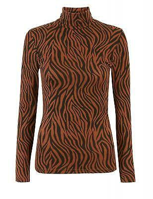 M&S Heatgen Animal Print Turtle Neck Long Sleeve Vest Top size 6-20