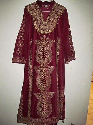 Vintage-Middle East- Burgundy Velvet Gown w/Gold Soutache-Made in Turkey L/XL