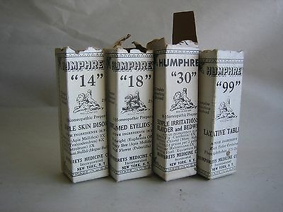 RARE bottles Humphreys Homeopathic Medicine Lot of 4
