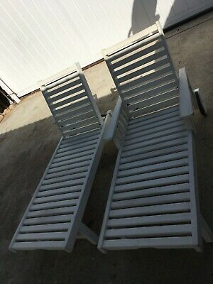 2 Weatherend Southern Harbor Wood Lounge Chaise chairs from Maine