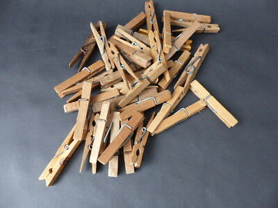 36 Vintage Sprung Wooden Clothes Pegs