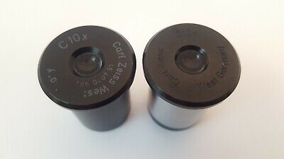 Lot of 2 Carl Zeiss C10x Microscope Eyepieces for Montagesatz T-UL & Others