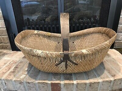 Antique Woven Gathering Basket Primitive Chinese/Asian 18th Century