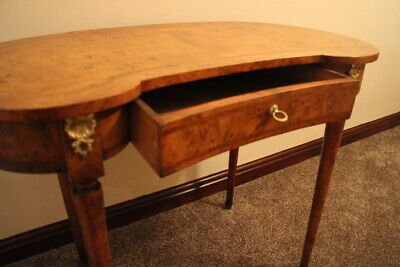Antique 19th century walnut kidney shaped writing table with draw