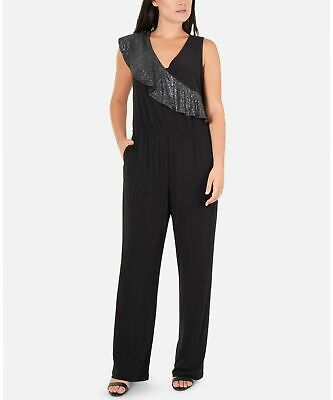 NY Collection Women's Petites Size Black Glitter-Ruffle Jumpsuit  Size PXS $65