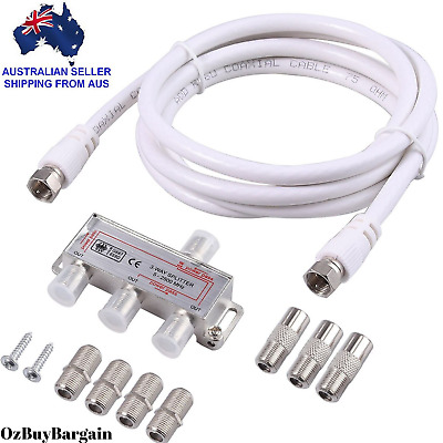 3 Way Coax Cable Splitter F Type TV Antenna Aerial 5-2500MHz*