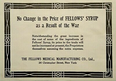 1914 Fellows Compound Syrup of Hypophosphites Quack Medicine Print Advertising