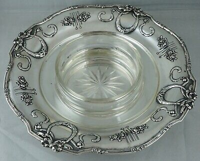 Large 800 Silver Austria Serving Crystal Glass Dish Art Nouveau Sterling Tray