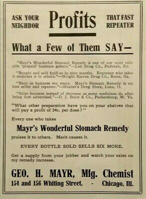 1914 Mayr's Wonderful Stomach Remedy Quack Medicine Vintage Print Advertising