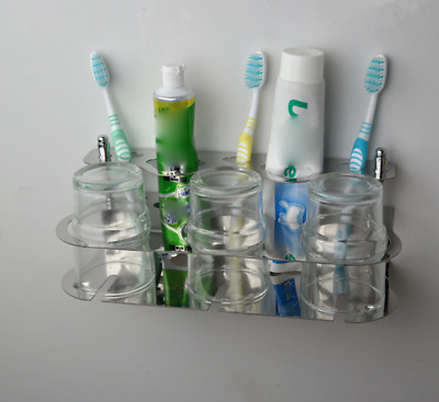 Bathroom Toothbrush Holder Tumbler Glass Cup Toothpaste Storage Shelf Wall Mount